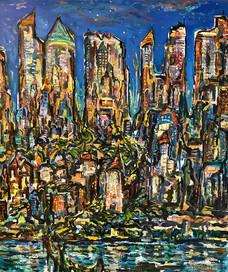 CITY #2, Oil painting By David Sandum