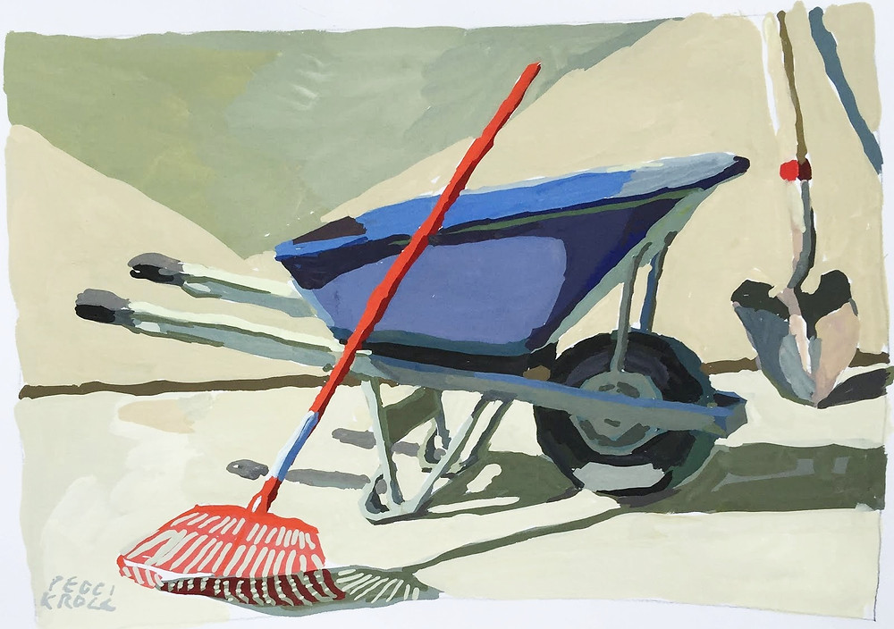 "Peggi Kroll Roberts, Yard Tools 8"" x 10"" Gouache"