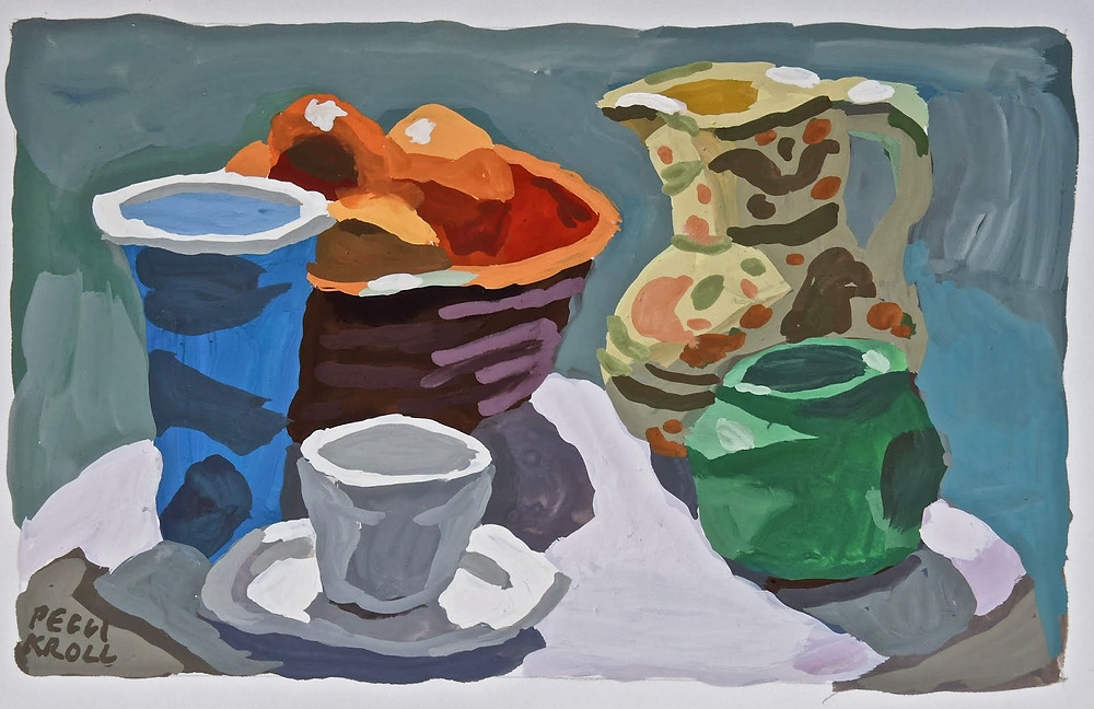 """Table top with White Cup"" Gouache 5"" x 7"" SOLD"
