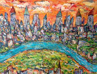 CITY #3, Oil painting By David Sandum