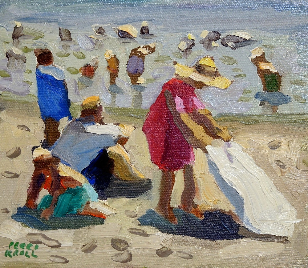 """Beach Family"" 6"" x 6 1/2"" Oil on Panel $225. SOLD"