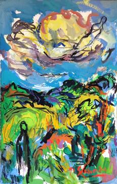 IN THE SKY - Gouache By David Sandum