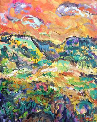 Colorful Landscape, Oil painting by David Sandum