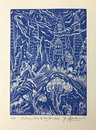LOVE OF MY LIFE - WHITE AND BLUE, AQUATINT - By David Sandum