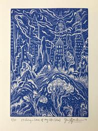 LOVE OF MY LIFE - WHITE AND BLUE, AQUATINT - By David Sandum