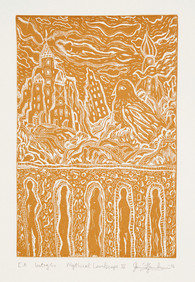 MYTHICAL LANDSCAPE III - OCHRE, INTAGLIO - By David Sandum