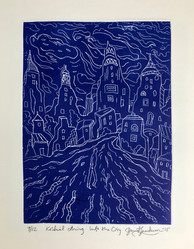INTO THE CITY, DRYPOINT - By David Sandum
