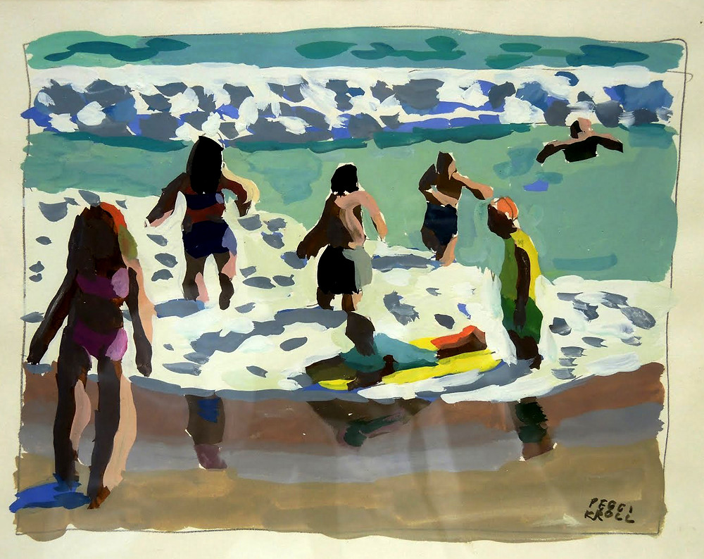 Peggi Kroll Roberts, gouache of figures on the beach - children playing in the water