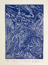FROM A JOURNEY - BLUE AND WHITE - DRYPOINT, By David Sandum