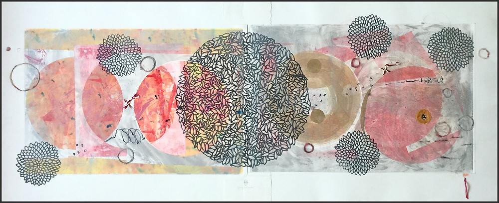 """© Karin Bruckner, """"Going In Circles"""": Viscosity Monotype with Chine Colle and Mixed Media On white BFK Rivers Printmaking Paper 22"""" x 54"""" 2017 - Twitter Art Exhibit"""