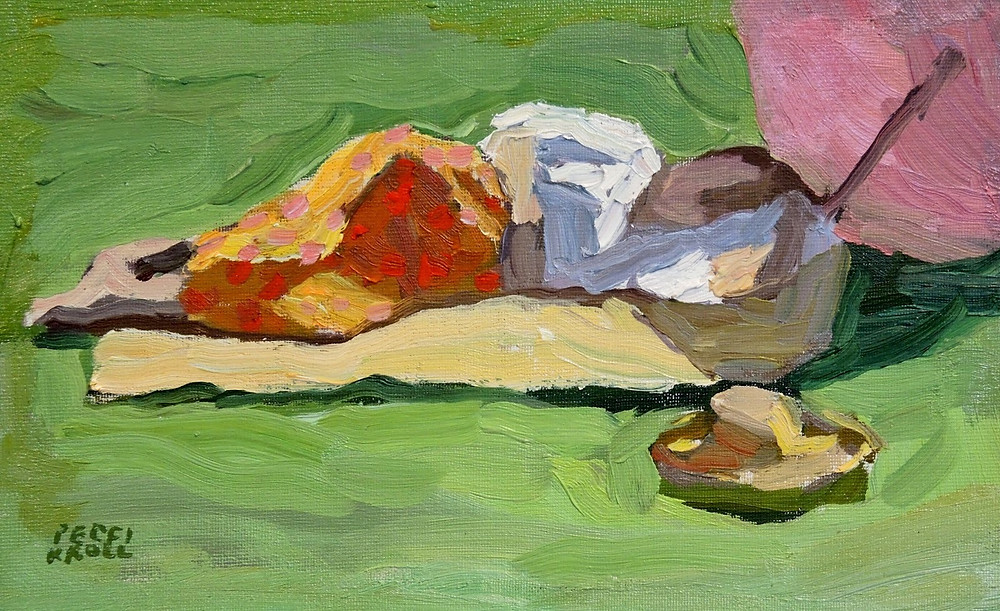 """Reclining Figure Model"" 5 1/2"" x 9"" Oil on Panel $275. SOLD"