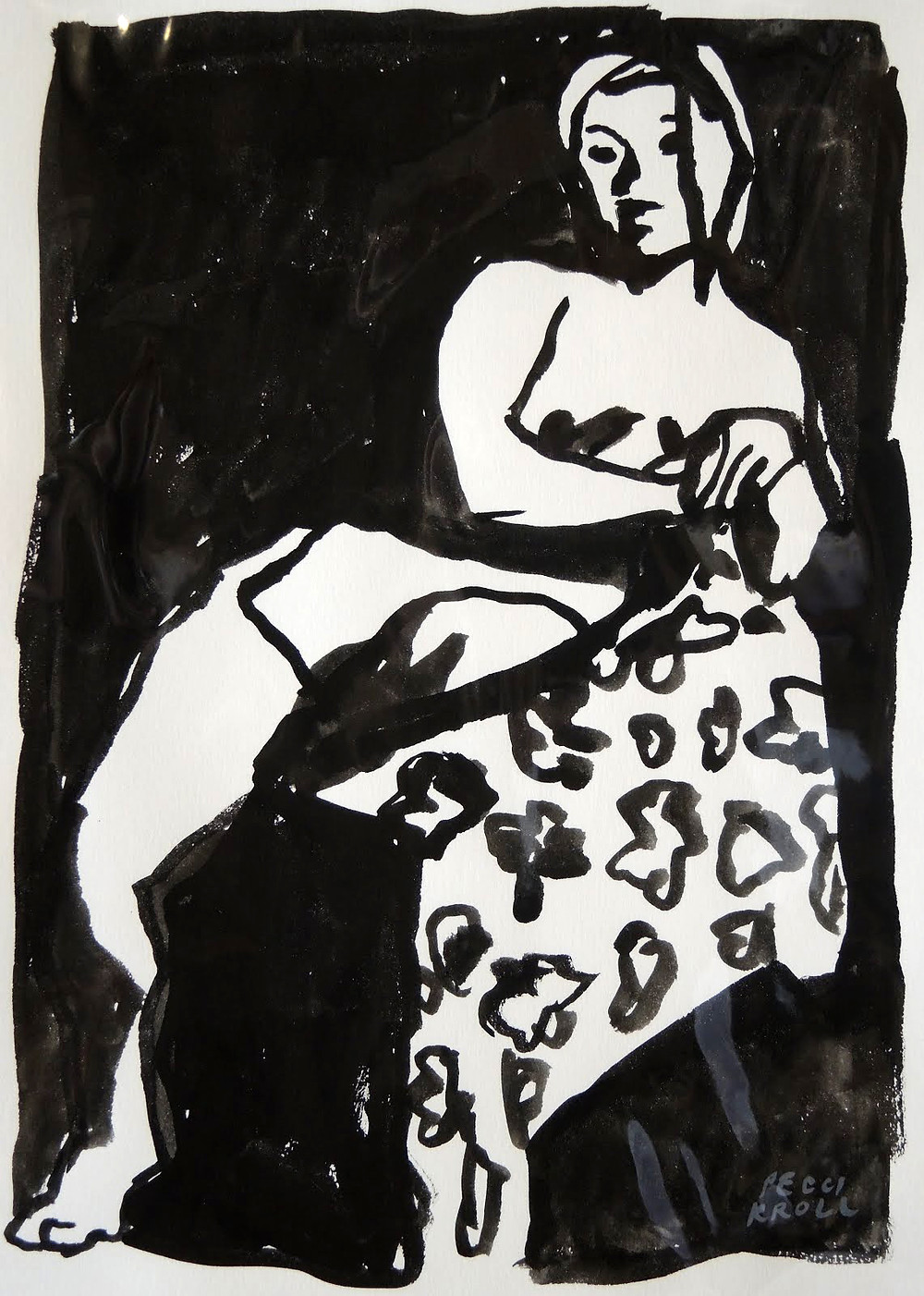 Peggi Kroll Roberts, nude figure black and white drawing