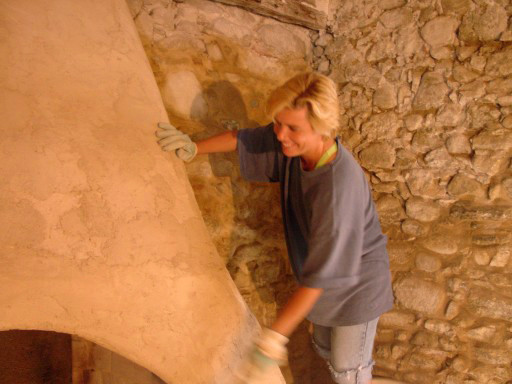 That's me working on the fireplace.