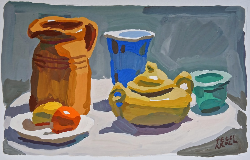 """Table top with Orange Pitcher"" Gouache 5"" x 7"" SOLD"