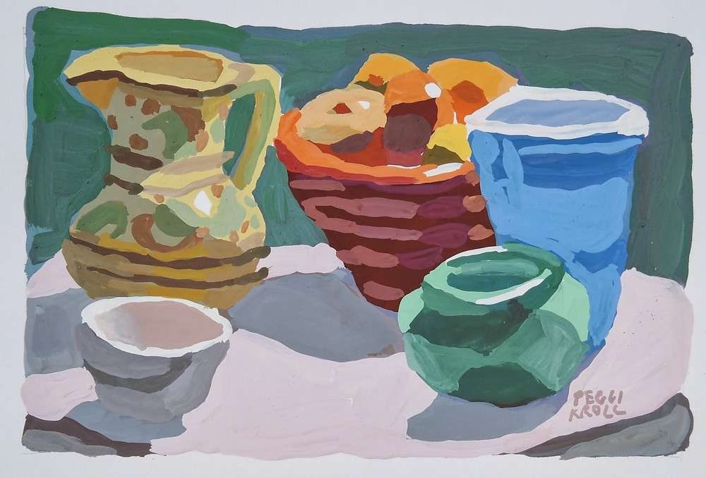 """Table top with Blue Cup"" Gouache 5"" x 7"" SOLD"