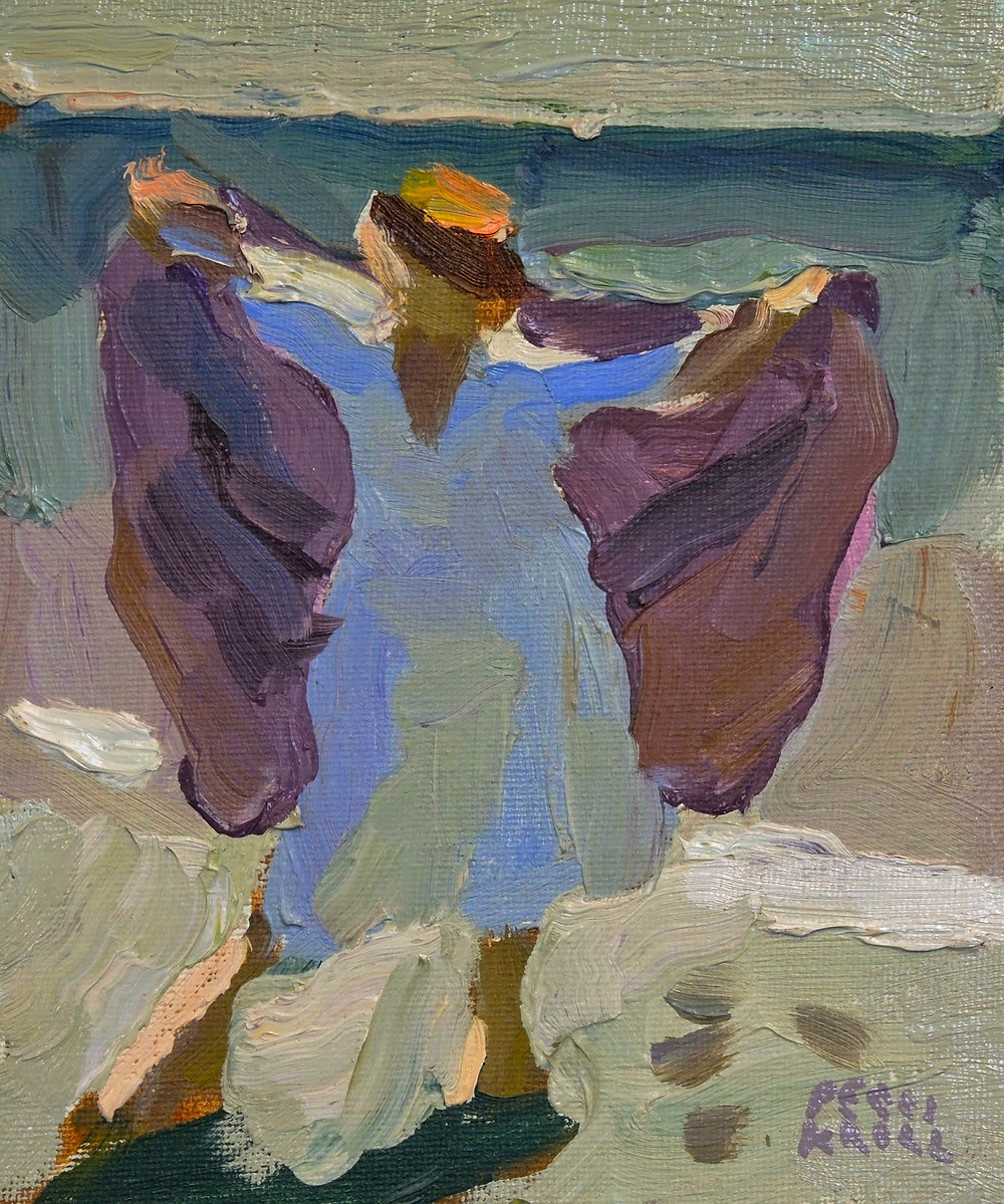 """Purple Towel"" 61/2"" x 5 1/2"" Oil in Panel $225. SOLD"