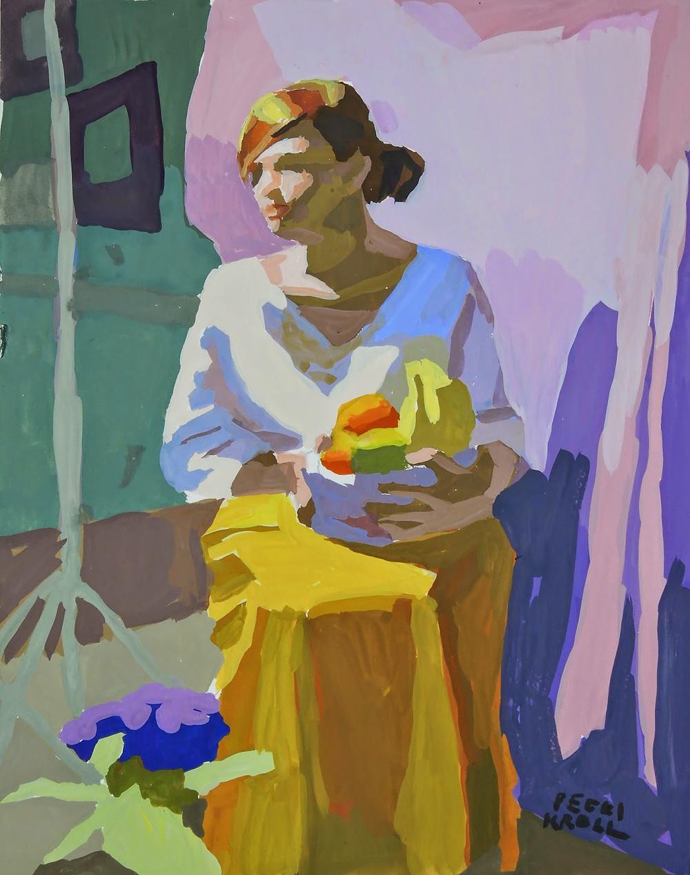 "Peggi Kroll Roberts, ""Model holding Fruit"" 10"" x 8"" Gouache on Illustration Board. SOLD"