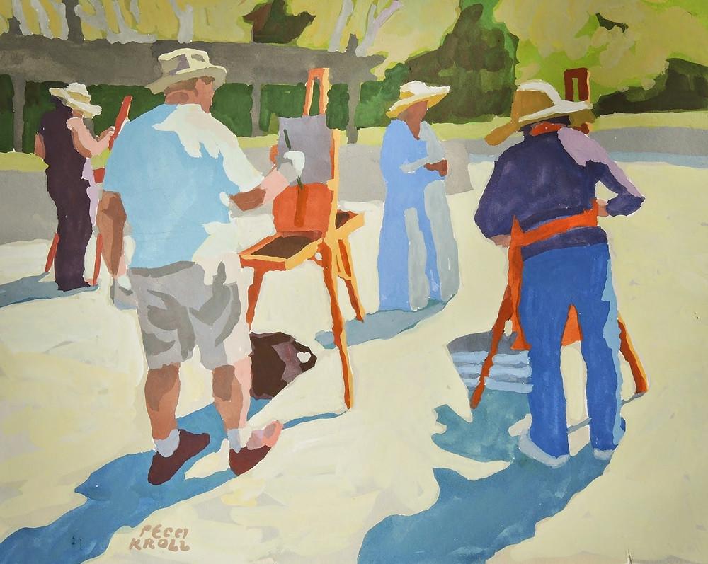 "Peggi Kroll Roberts, ""Plein Air Painters"" 8"" x 10"" Gouache on Illustration Board. SOLD"