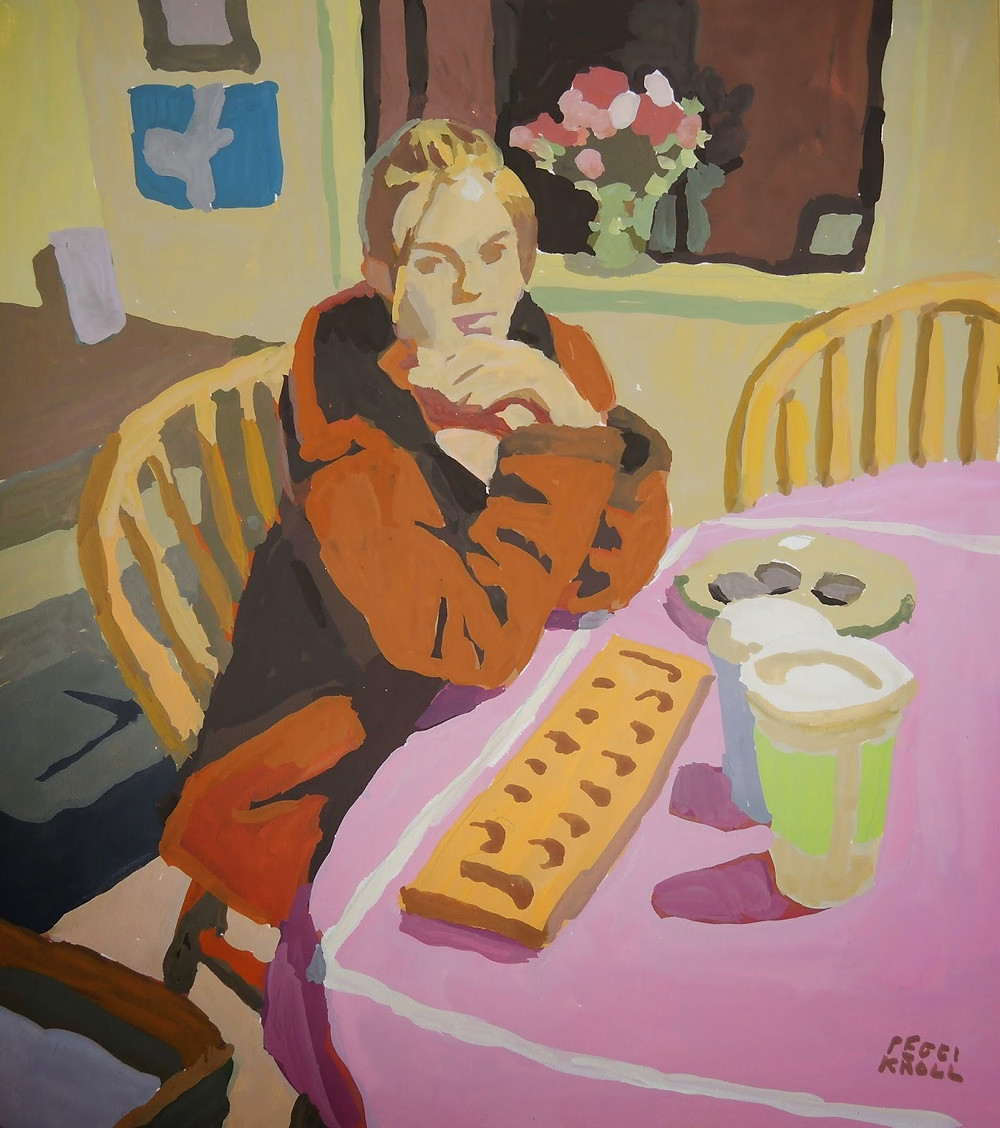 """Peggi Kroll Roberts, """"Ali at the Table"""" 10"""" x 8"""" Gouache on Illustration board. SOLD"""