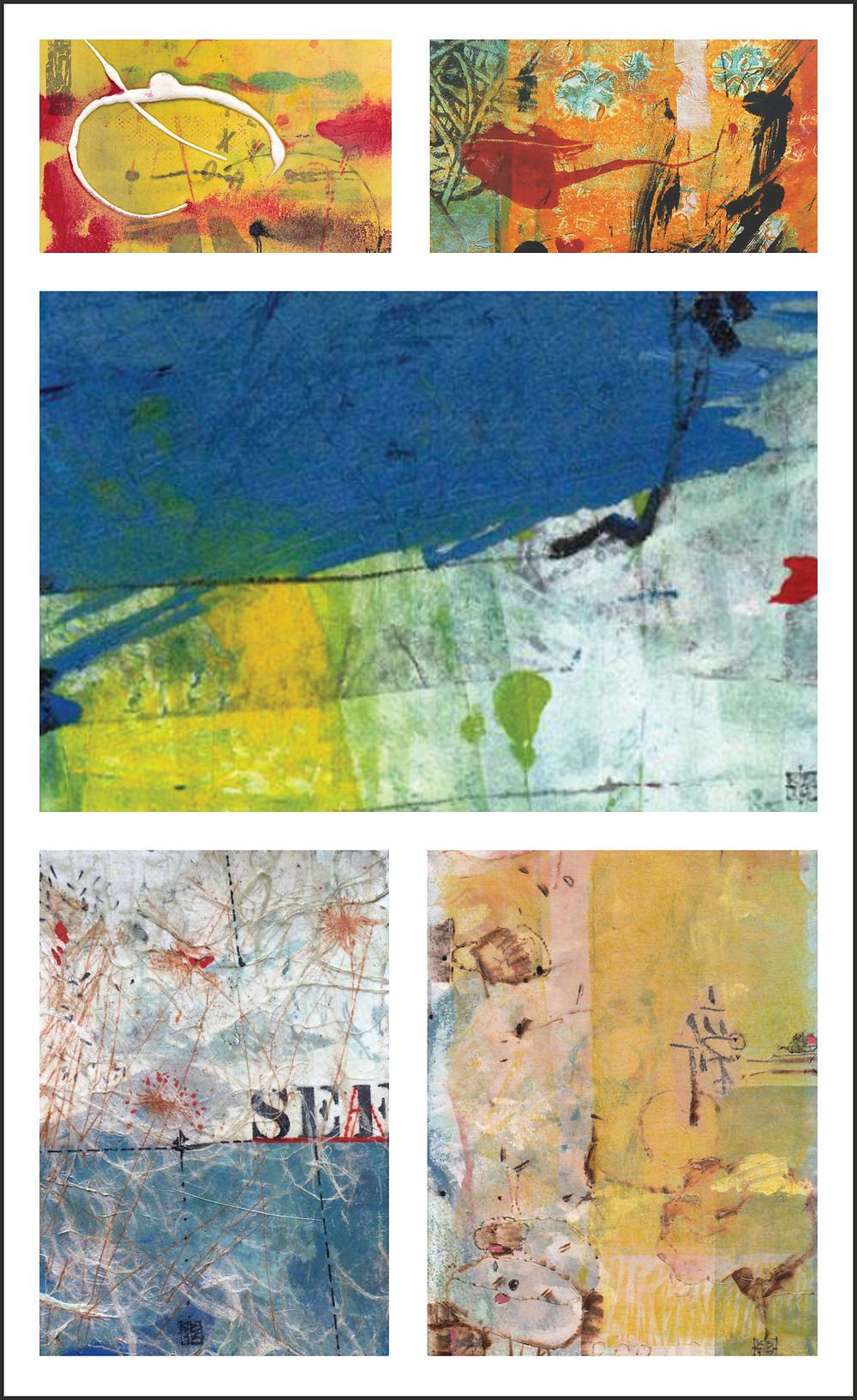 A collage of Karin Bruckner's entries - Twitter Art Exhibit