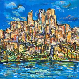 MY IMAGINARY CITY, Oil painting By David Sandum
