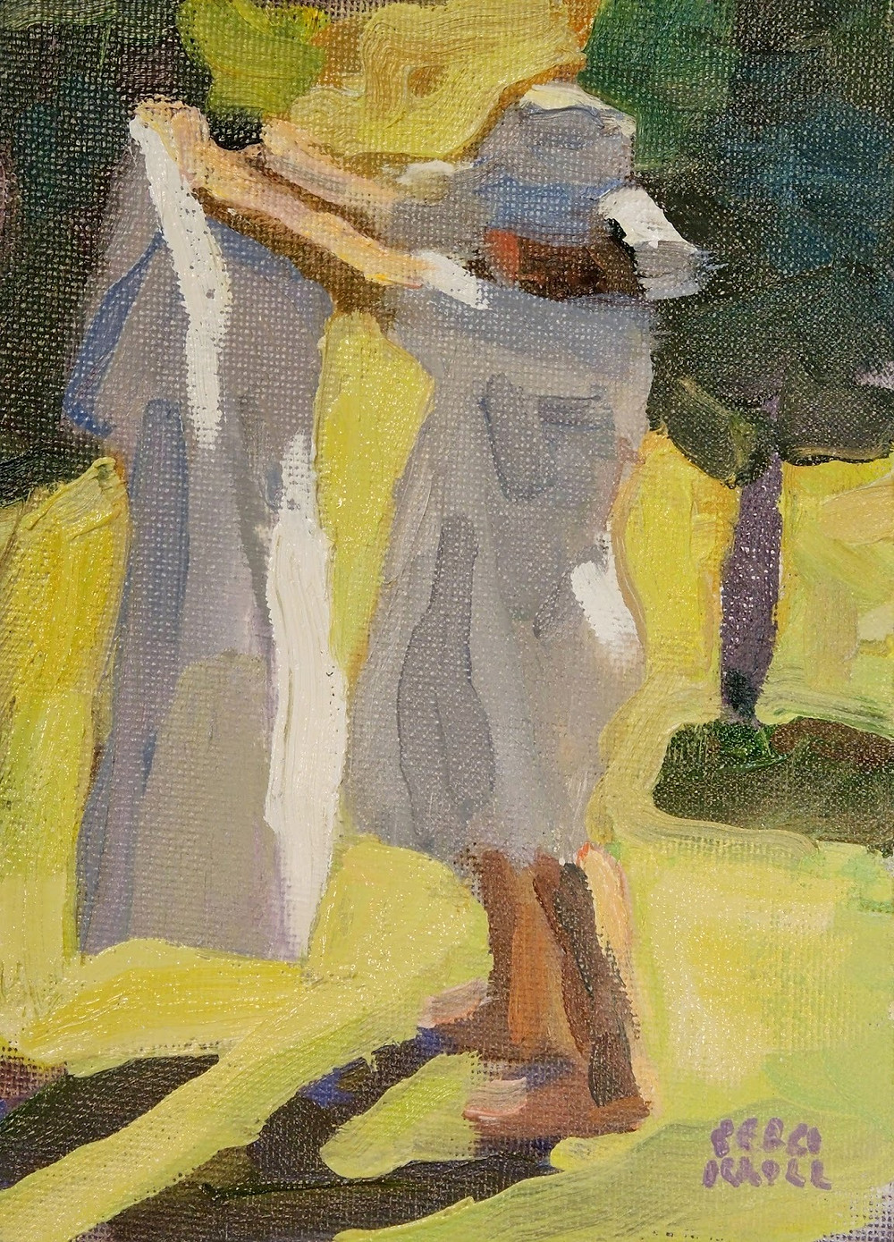 """Figure with White Towel"" 7"" x 5"" Oil on Panel $225. SOLD"