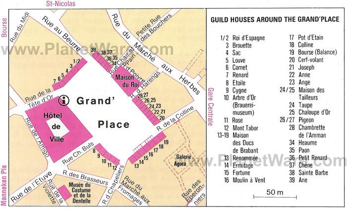 Mapa - guildas - Grote Markt - Bruxelas