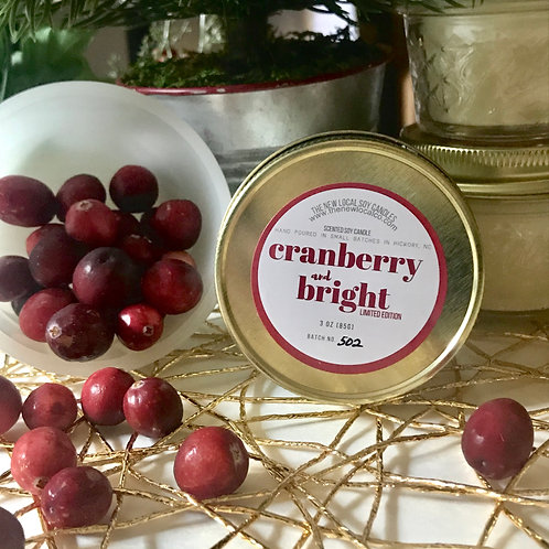Cranberry and Bright 3 oz Candle