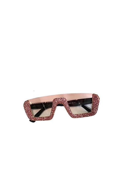 Pink  Dencia Billionaire crystal-embellished sunglasses Gold
