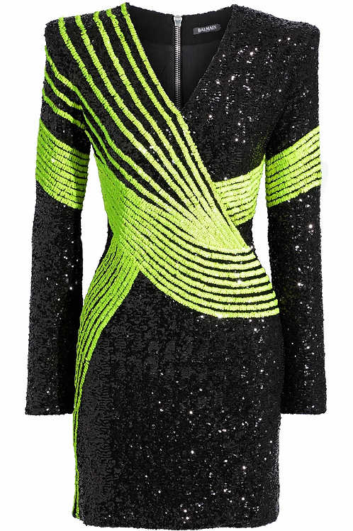 BALMAIN  Wrap-effect sequined stretch-tulle mini dress