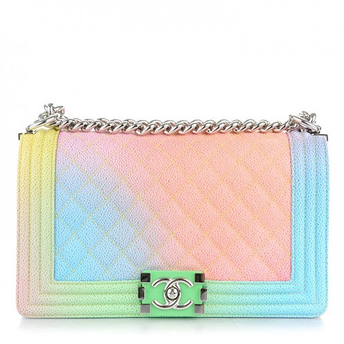 CHANEL Printed Caviar Medium Rainbow Cuba Boy Flap Multicolor