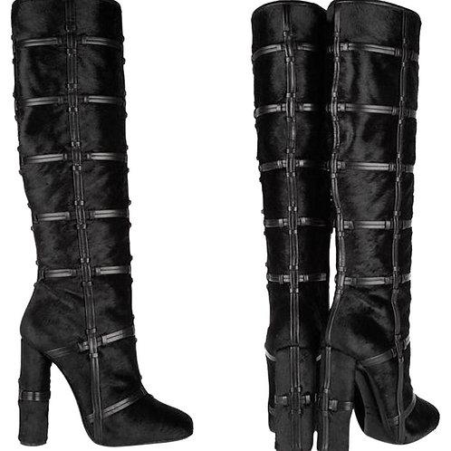 Patchwork Knee-high Black Calf Hair Boots 37
