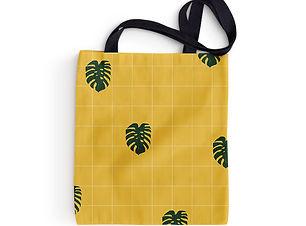 Grid and Leaves Tote Bag