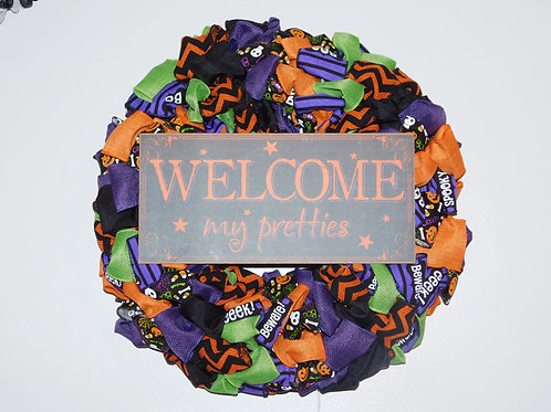 Welcome My Pretties Halloween Wreath