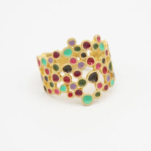 Vergoldeter Ring mit bunter Emaille