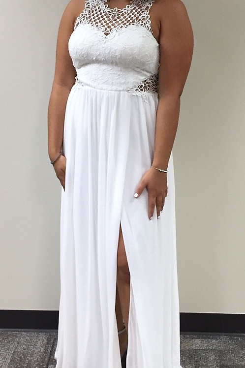 City Studio White Gown with Embroidered Top