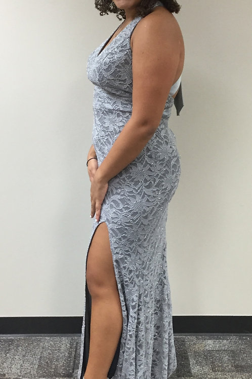 City Studio Gray Lace and Sparkle Dress with Bow on Back