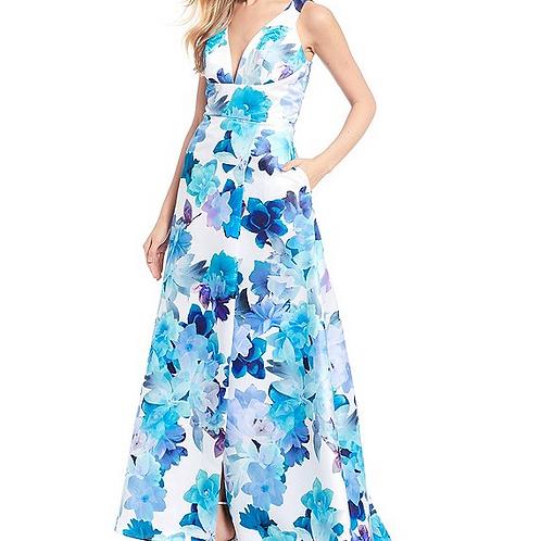 Jump Sleeveless V-Neck Floral Print Long Dress