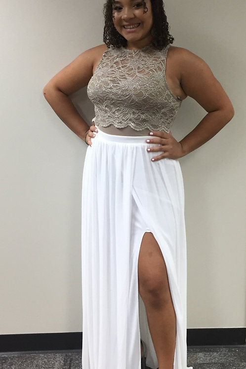 City Studio White Overlay Skirt with Tan Sparkle Illusion Neckline