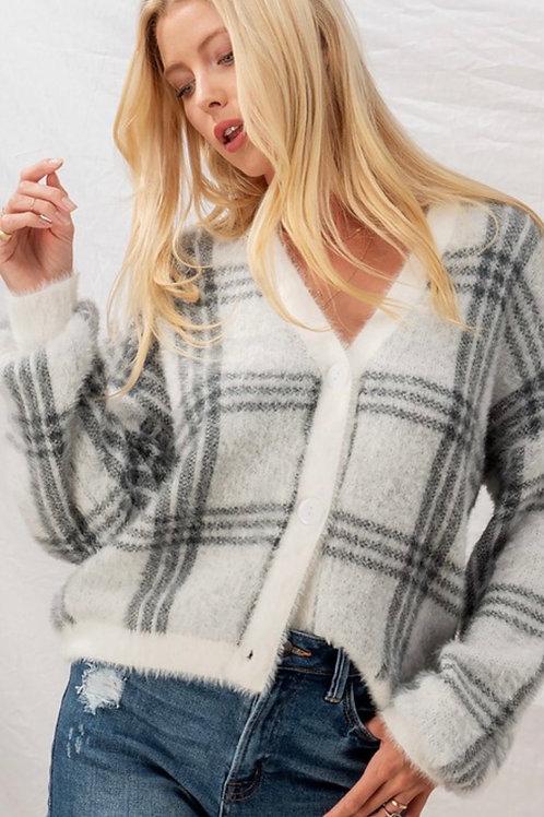 Checkered Button Down Sweater