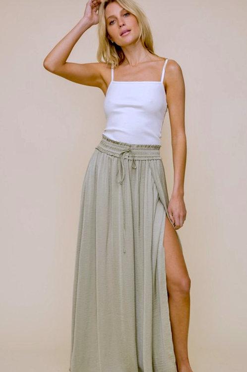 Satin Sage Maxi Skirt