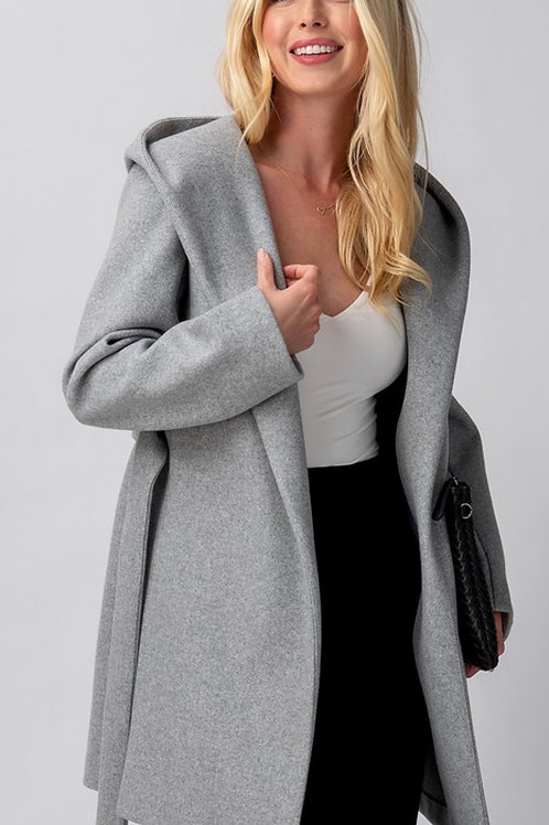 Gray Hooded Wrap Jacket