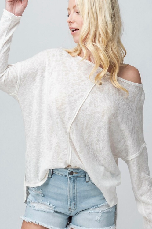White burnout dolman top