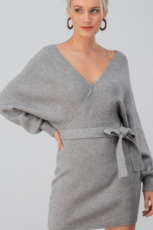 Gray Fitted Sweater Dress