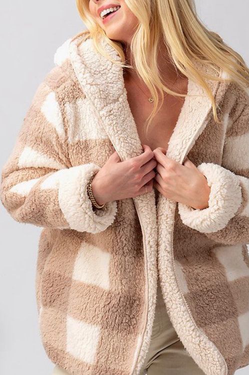 Plaid Taupe Teddy Coat