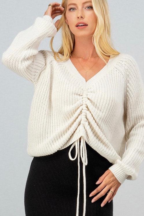 Drawstring Knit Sweater