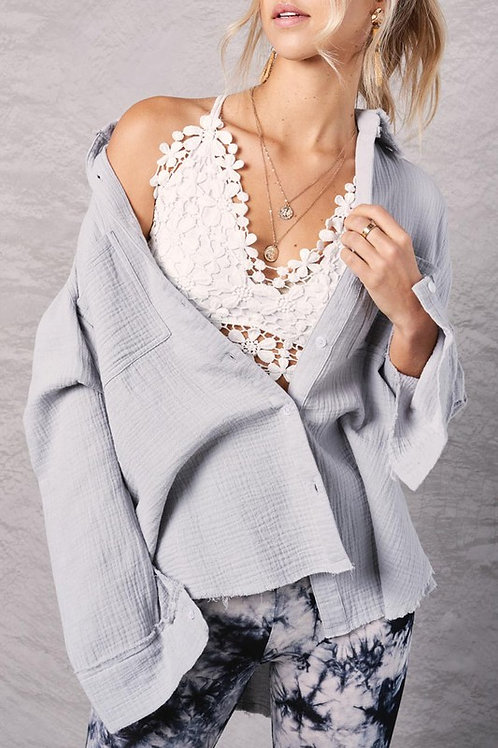 Waffle Knit Button Down