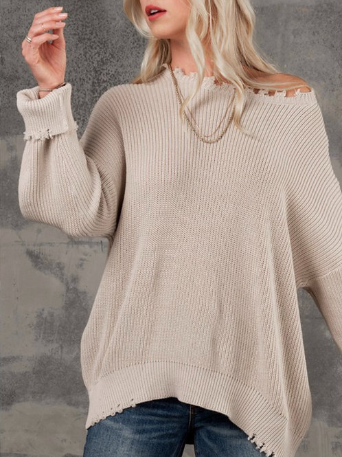 Oversized Raw Hem Sweater