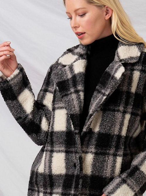 Checkered Sherpa Coatigan