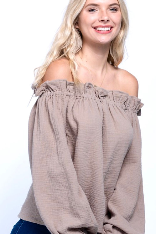Taupe Off the Shoulder Top